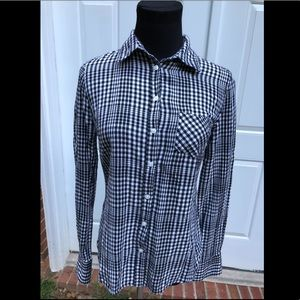 Merona Black and White Plaid Long Sleeve Shirt